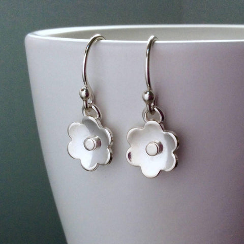 Earrings with sterling silver flower design, dainty and simple with silver centre - Tracy Anne Jewellery