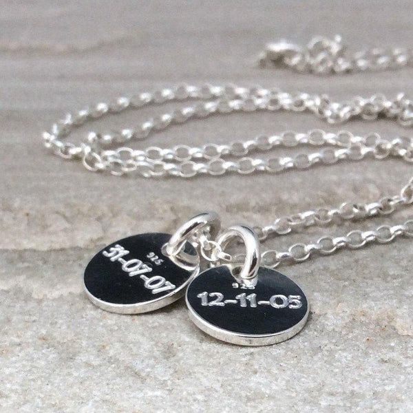Name necklace in sterling silver, add up to four engraved discs, 10mm