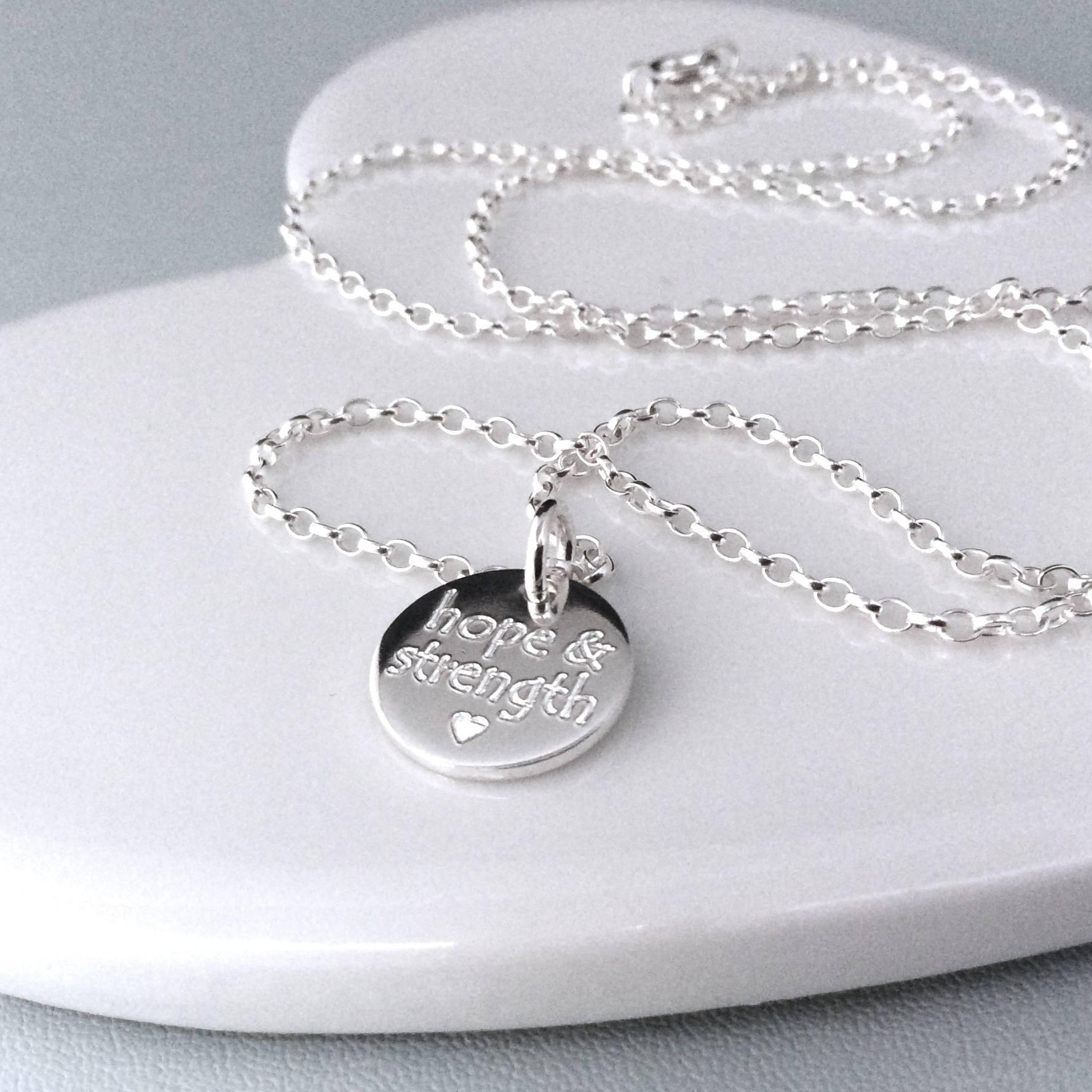 Quote necklace - Hope & Strength - sterling silver 12mm