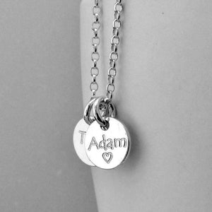 Name necklace in sterling silver, add up to four engraved discs, 10mm - Tracy Anne Jewellery