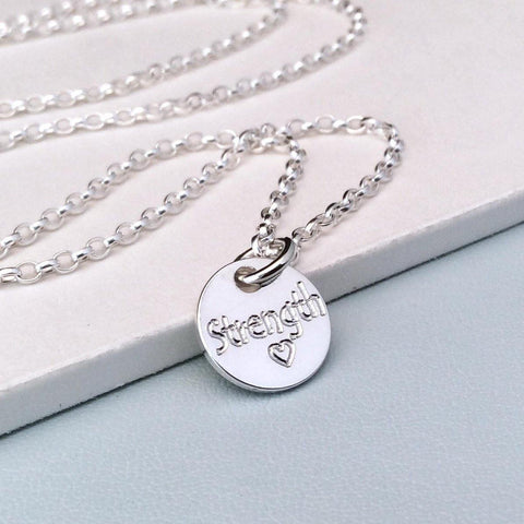 Quote necklace - Strength - a tiny gift to motivate and inspire, 10mm - Tracy Anne Jewellery