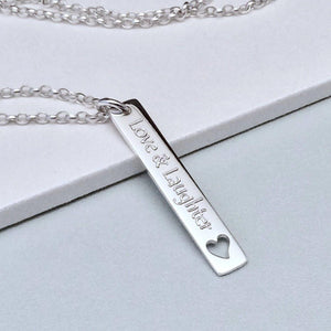 Quote necklace - Love & Laughter - sterling silver - Tracy Anne Jewellery
