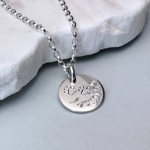 Paw print necklace personalised in sterling silver, 12mm