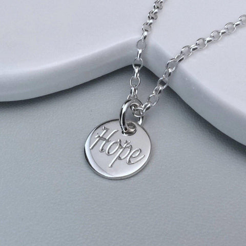 Quote necklace - Hope - gift of encouragement, 12mm - Tracy Anne Jewellery