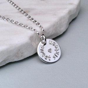 Sweet 16 necklace with birthday girl's name engraved on the back, 12mm