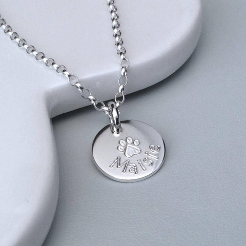 Paw print necklace personalised in sterling silver, 12mm wide
