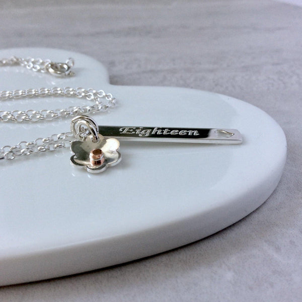 18th birthday necklace with name engraved on the back - Tracy Anne Jewellery