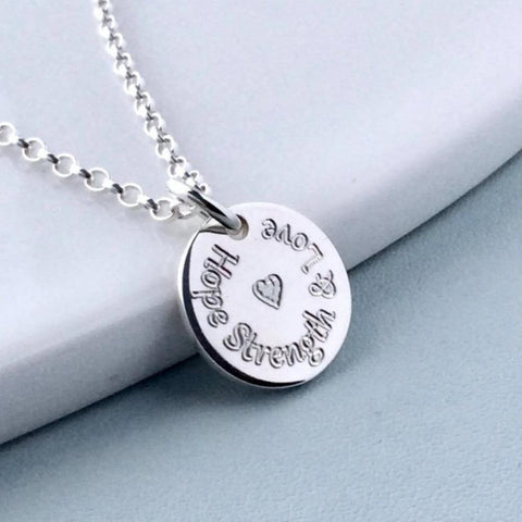 hope strength and love necklace, engraved in sterling silver