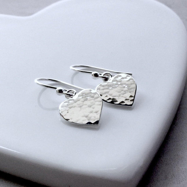 Earrings - dainty sterling silver hearts with hammered finish