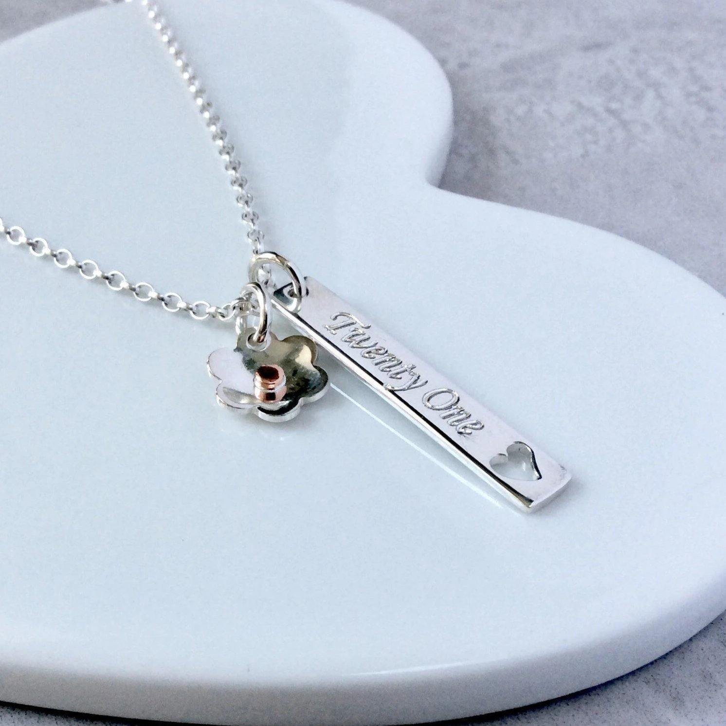 21st birthday necklace with name engraved on the back - Tracy Anne Jewellery