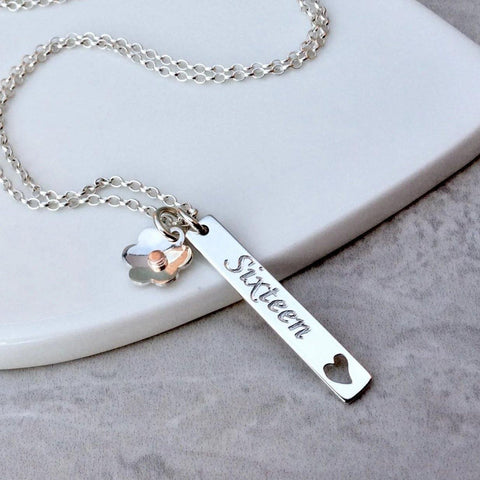 Sweet 16 necklace personalised in sterling silver with pretty flower charm