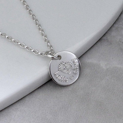 Name necklace engraved in sterling silver, lovely gift for Mum! 12mm - Tracy Anne Jewellery