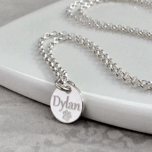 Paw print necklace personalised with pet's name, 12mm