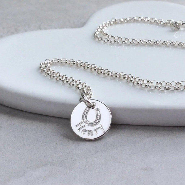 Horseshoe necklace personalised with full name in sterling silver 12mm wide - Tracy Anne Jewellery