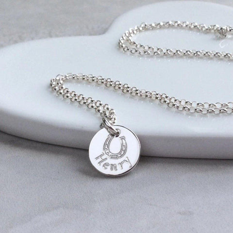 Horseshoe necklace personalised with full name in sterling silver 12mm wide