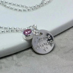 Name and date necklace with birthstone, engraved in sterling silver