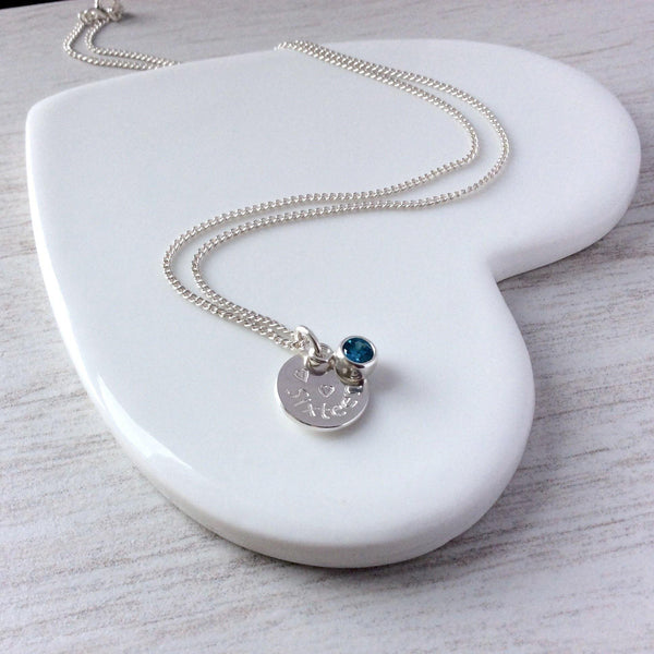 Sweet 16 necklace with birthstone, personalised on the back