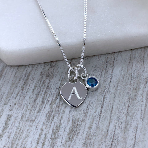 initial necklace, engraved sterling silver heart with separate 5mm birthstone charm