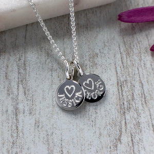 tiny name necklace engraved on sterling silver circle pendant, 8mm
