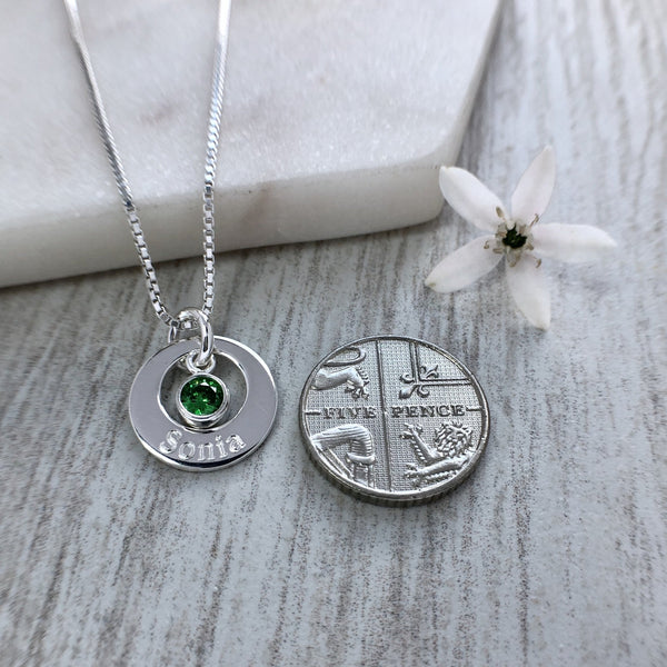 Name necklace with birthstone charm, sterling silver, 14mm