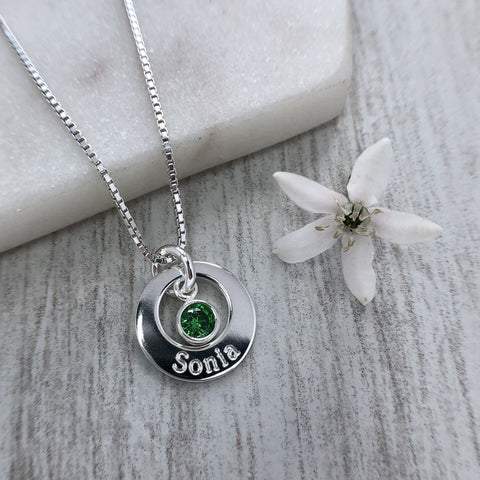 name necklace with birthstone charm, washer style sterling silver pendant