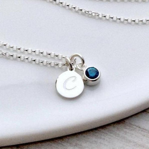 Initial necklace, tiny silver pendant with birthstone charm, 8mm