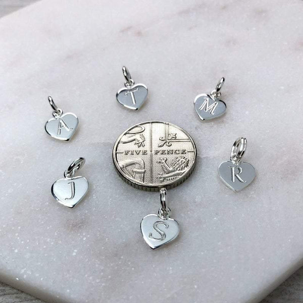 Sterling silver initial charms, engraved onto tiny 8mm hearts - Tracy Anne Jewellery