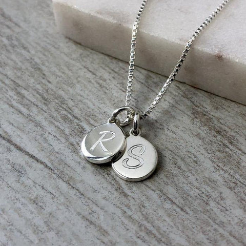 Initial necklace, small and dainty, 8mm