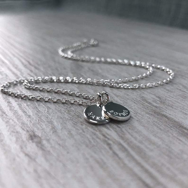 Name necklace, engraved on tiny 8mm sterling silver - Tracy Anne Jewellery