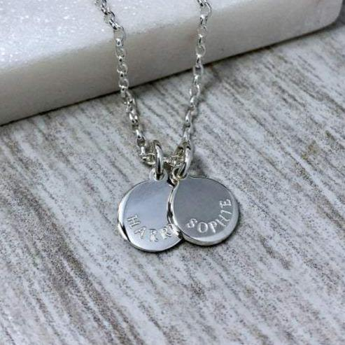 tiny name necklace personalised in sterling silver