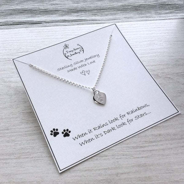 Paw print necklace - sterling silver, choose from two sizes, 10mm or 12mm