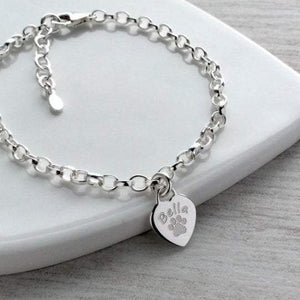 Paw print bracelet with dainty heart charm, personalised with pet's name