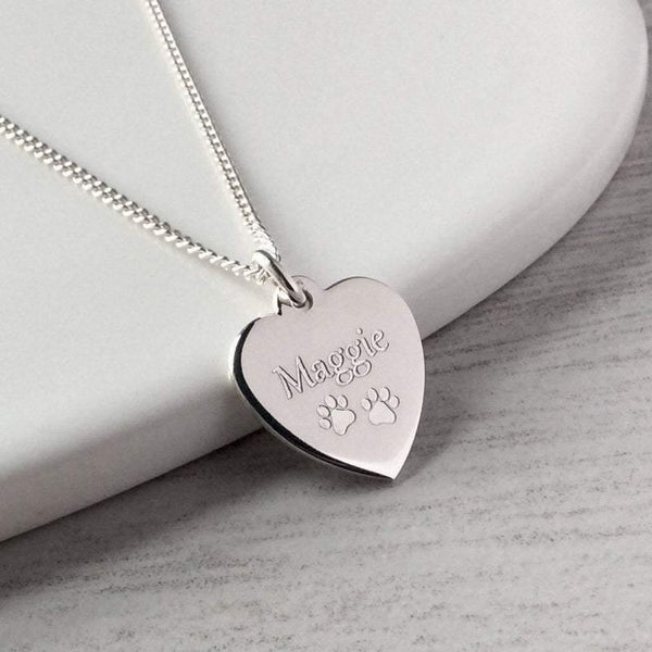 Paw print necklace with pet's name engraved onto a sterling silver heart, 14mm