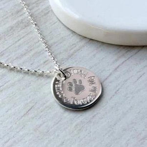 Pet memorial / paw print necklace personalised in sterling silver, 15mm