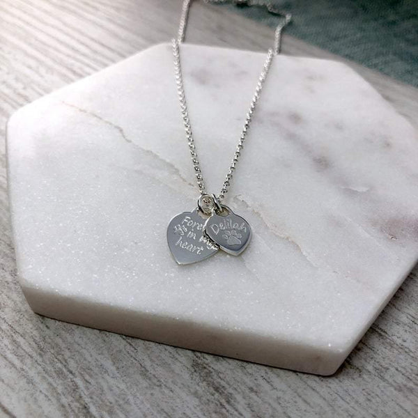 Pet memorial necklace with two sterling silver hearts