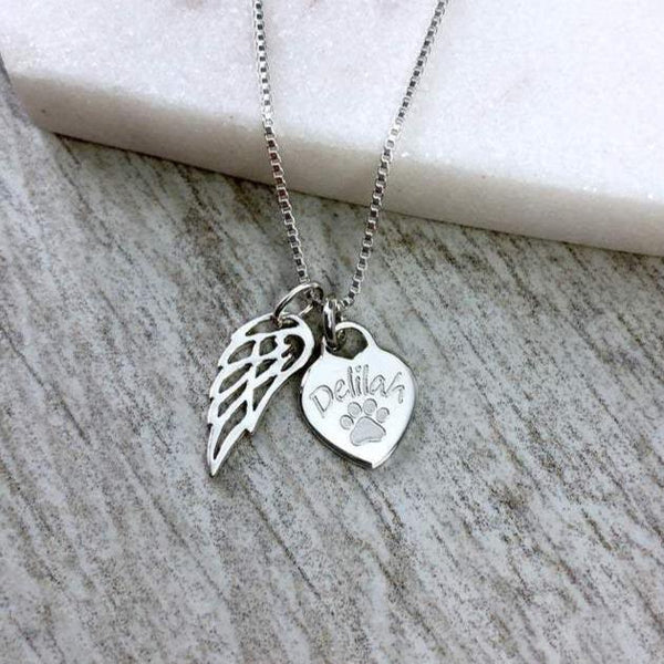 Pet memorial necklace with angel wing charm, personalised with your pet's name