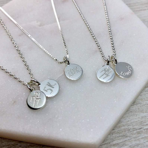 Gift for a runner, tiny engraved silver discs to celebrate your achievements! - Tracy Anne Jewellery