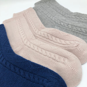 Pure Cashmere Cable Knit Lounge Socks