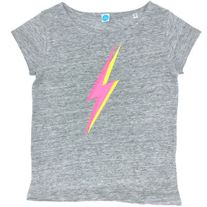 Neon Pink Lightning Bolt Grey Marl Linen Top