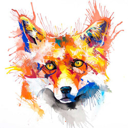 Foxy Woxy Painting by Sarah Taylor. Foxes face, looking into your eyes