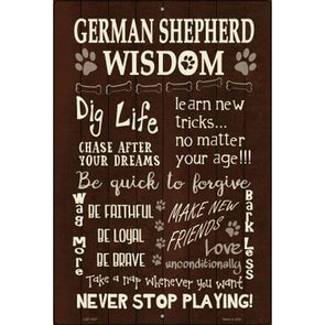 German Shepherd Wisdom Novelty Metal Large Parking Sign Box sign German Shepherd Shop