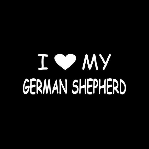 I Love My German Shepherd Sticker Black/Silver