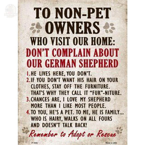 Non-Pet Owners German Shepherd Parking Sign