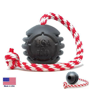 "USA-K9 Magnum Black Stars And Stripes Ultra-Durable Rubber Chew Toy, Reward Toy, Tug Toy, And Retrieving Toy 3"" Toys German Shepherd Shop"