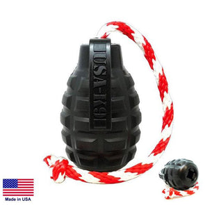 USA-K9 Magnum Grenade Durable Rubber Chew Toy, Treat Dispenser, Reward Toy, Tug Toy, And Retrieving Toy Toys German Shepherd Shop
