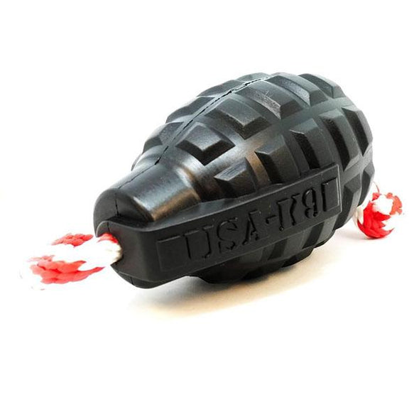 USA-K9 Magnum Grenade Durable Rubber Chew Toy, Treat Dispenser, Reward Toy, Tug Toy, And Retrieving Toy Toys German Shepherd Shop X-LARGE (60-90 LBS)