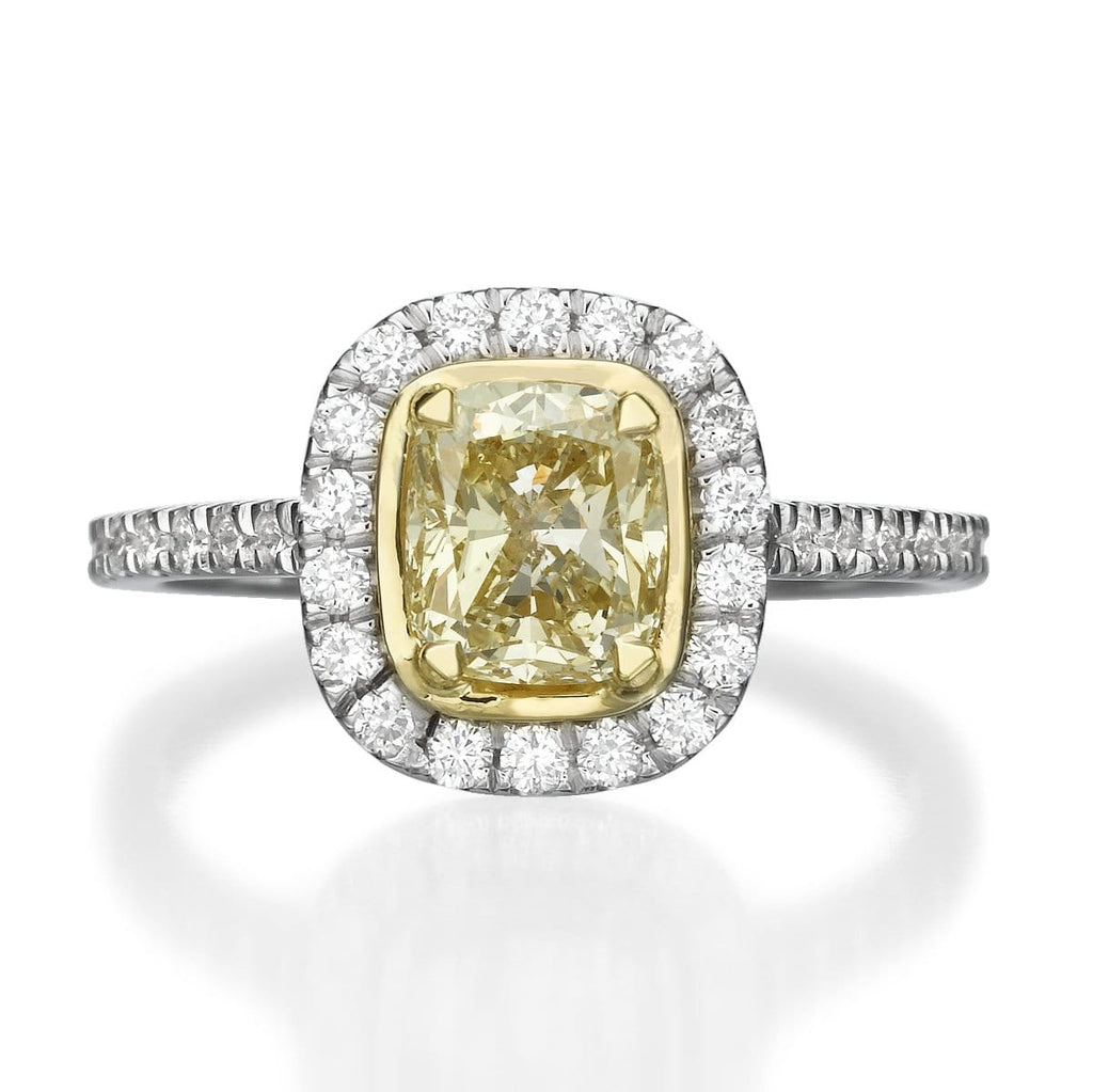 1.42 ct Fancy Yellow Cushion Cut Diamond Engagement Ring