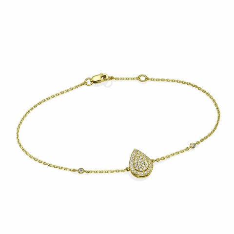 Pear Shaped Diamond Cluster Bracelet In 18K Gold