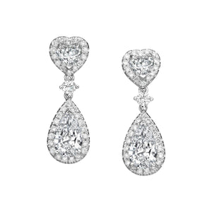 Extraordinary 4.08 ct Heart & Pear Shaped Diamond Drop Earrings