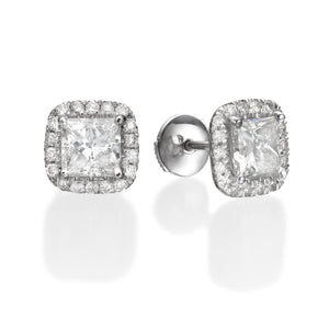 2.56 ct Princess Cut Diamond Stud Earrings